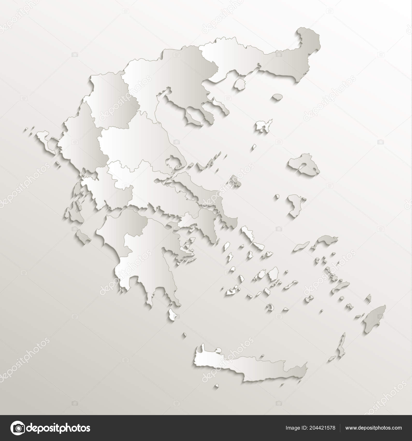Greece Map Blank.Greece Map Separate Region Individual Blank Card Paper Natural