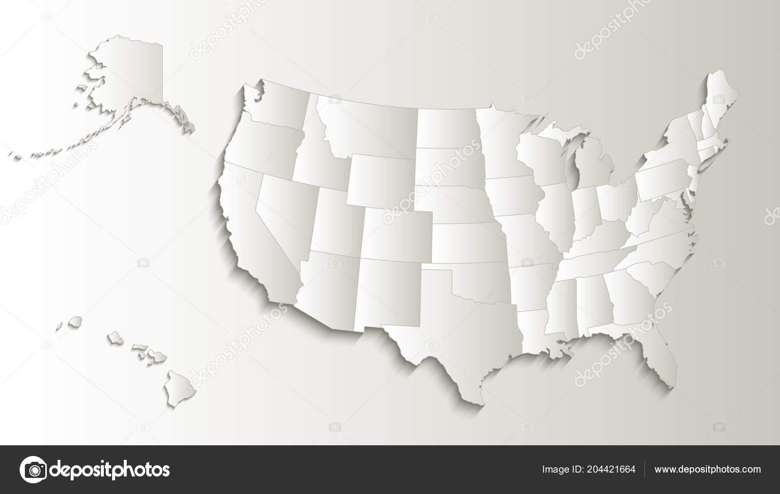 Usa Map Alaska Hawaii Map Separate States Individual Blank ...