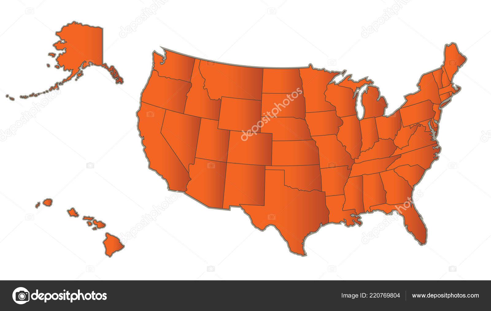 Usa Map Alaska Hawaii Orange Separate States Individual