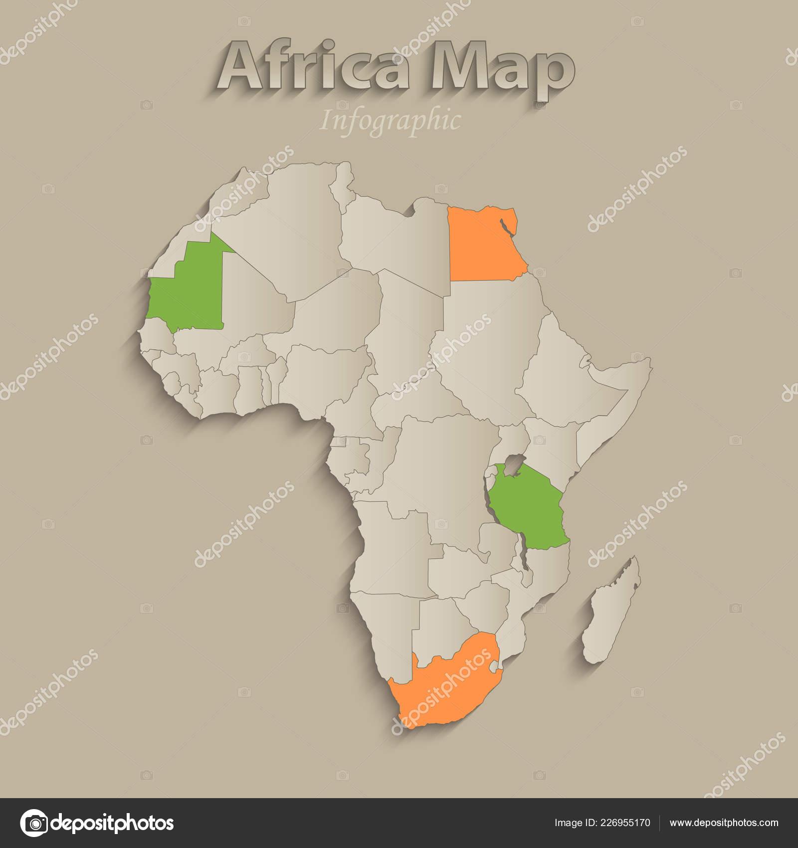 Afrika Karte Staaten.Afrika Karte Mit Einzelnen Staaten Getrennt Infografiken Mit Icons