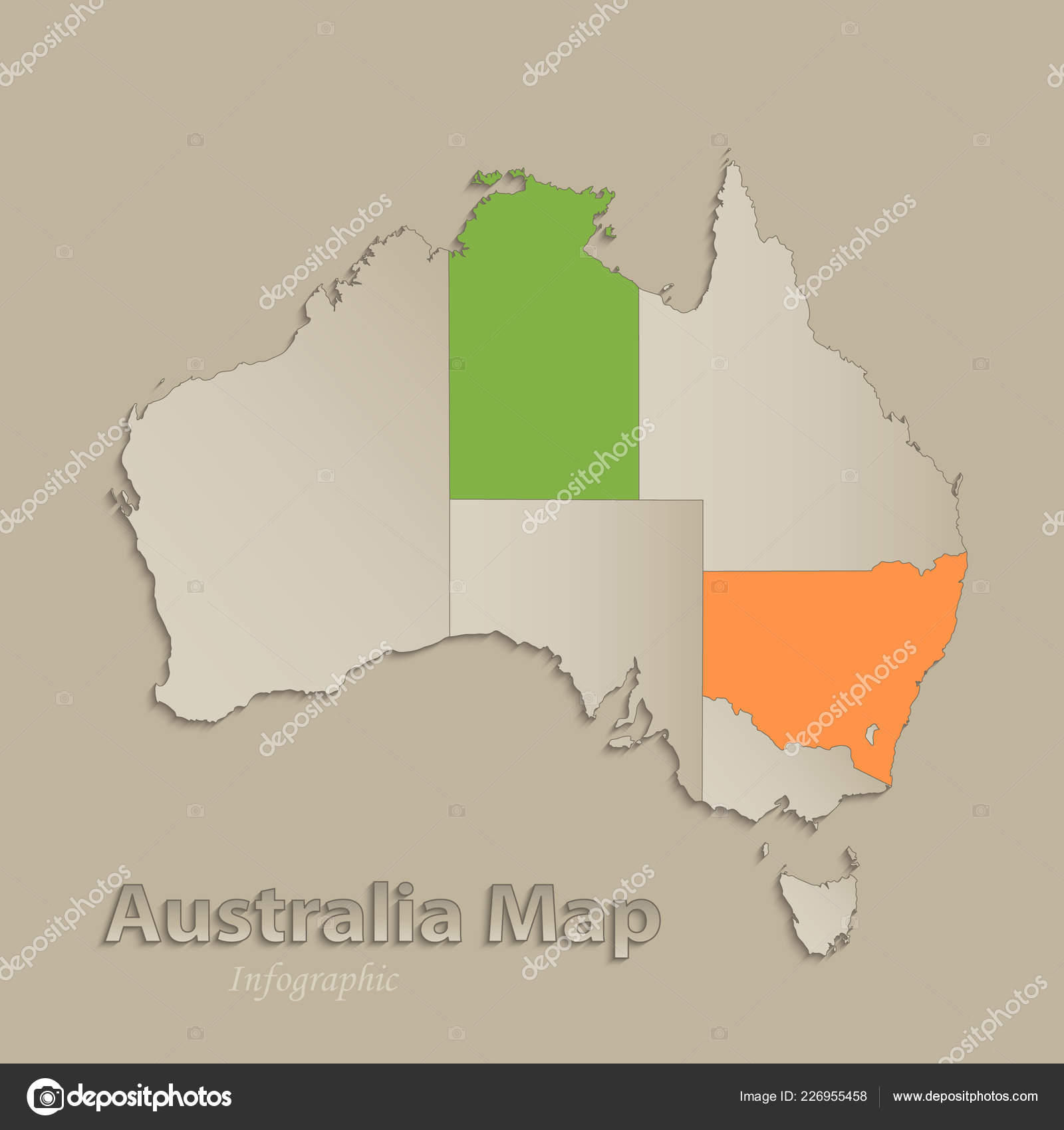 Australia Map Vector With States.Australia Map Individual States Separated Infographics Icons Vector