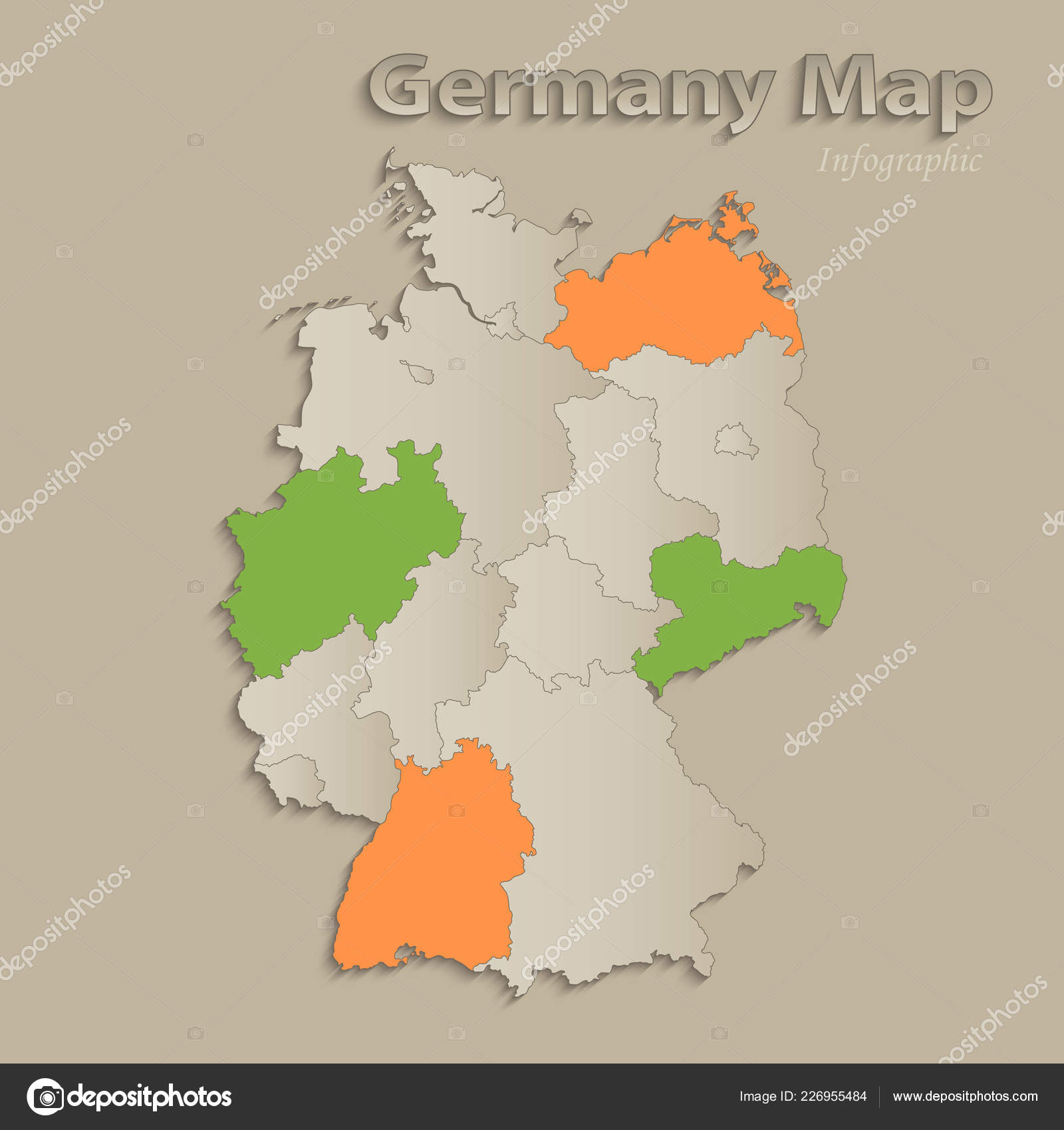 Germany Map Individual States Separated Infographics Icons ...