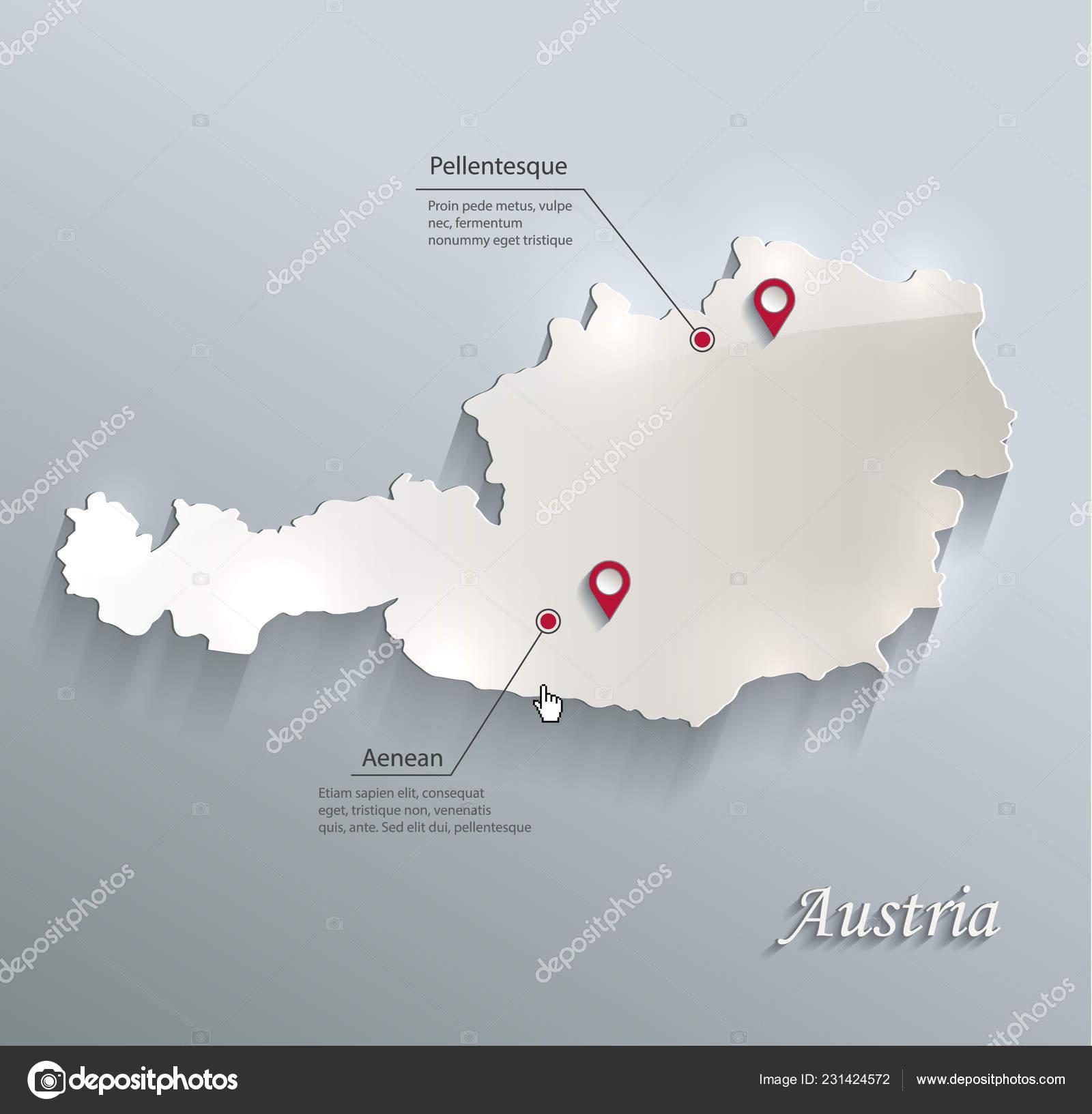 3d Karte Osterreich.Osterreich Karte Blau Weisse Karte Papier Vektor