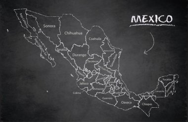 Mexico map, new political detailed map, separate individual states, with state names, card blackboard school chalkboard vector