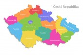 Česká republika mapa, nové politické podrobnou mapu, samostatné jednotlivých regionů, s názvy krajů, izolované na bílém pozadí 3d vektor