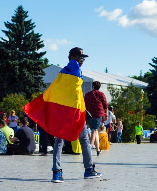 2 July 2018 Moscow, Russia. Fan of the national team of the Republic of Chad at the FIFA fans festival in the fan zone of the  FIFA World Cup 2018 in the Vorob'evy gory in Moscow.
