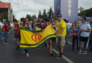 2 July 2018 Moscow, Russia. Fans of the Brazilian national team at the FIFA fans festival in the fan zone of the  FIFA World Cup 2018 in the Vorob'evy gory in Moscow.