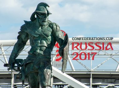 MOSCOW, RUSSIA - June, 18, 2017 The sculpture of the gladiator in the square in front of the Spartak stadium in Moscow, where the matches of the FIFA Confederations Cup 2017 and the 2018 FIFA World Cup will be held.
