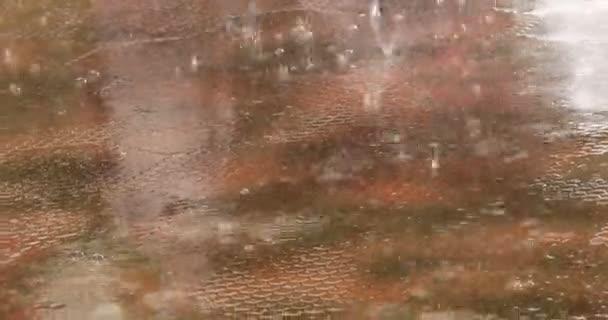 Regentropfen auf den Boden