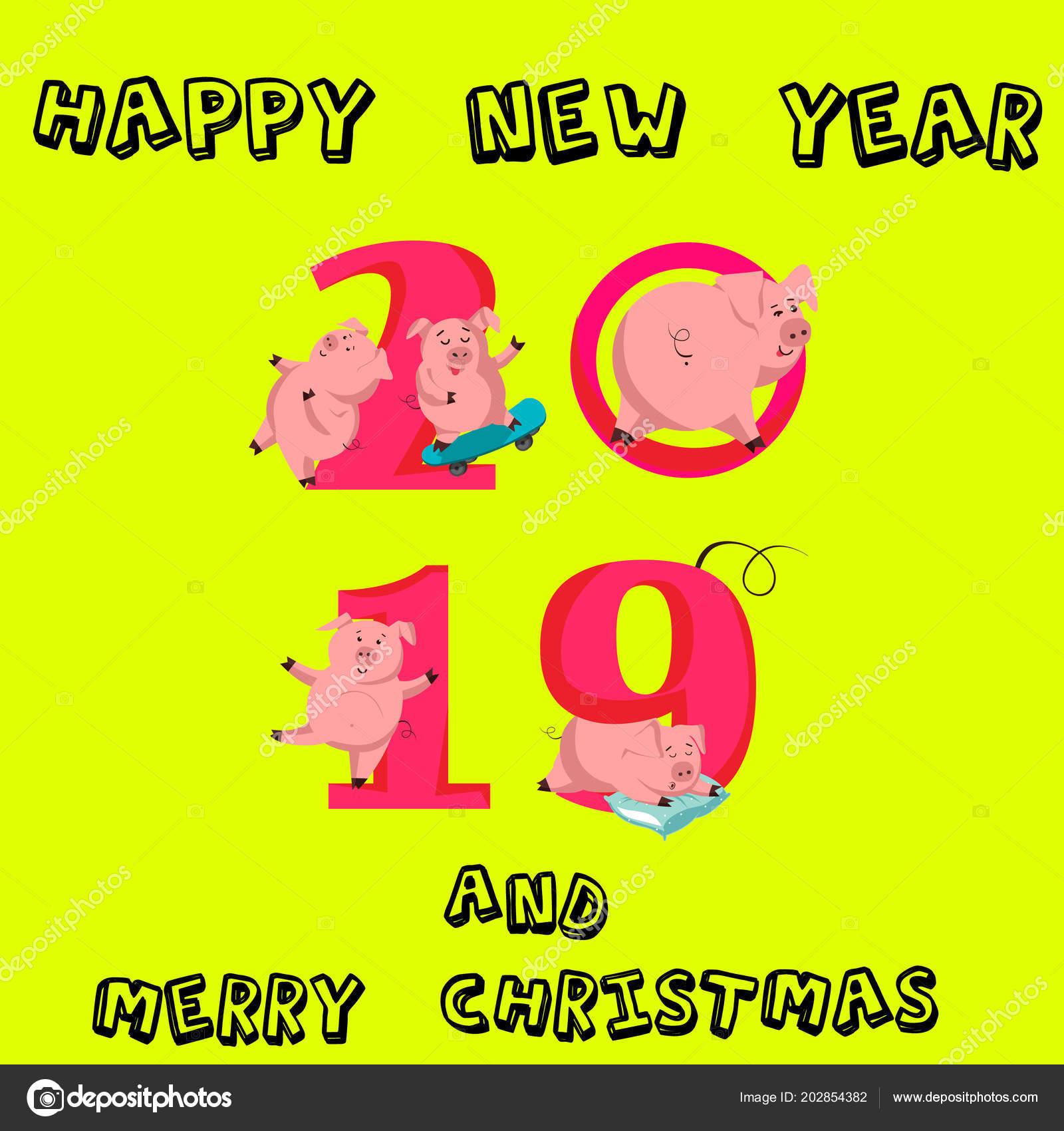 Feliz Ano Nuevo Juego Cerdo Divertido Lindo Simbolo Chino Del