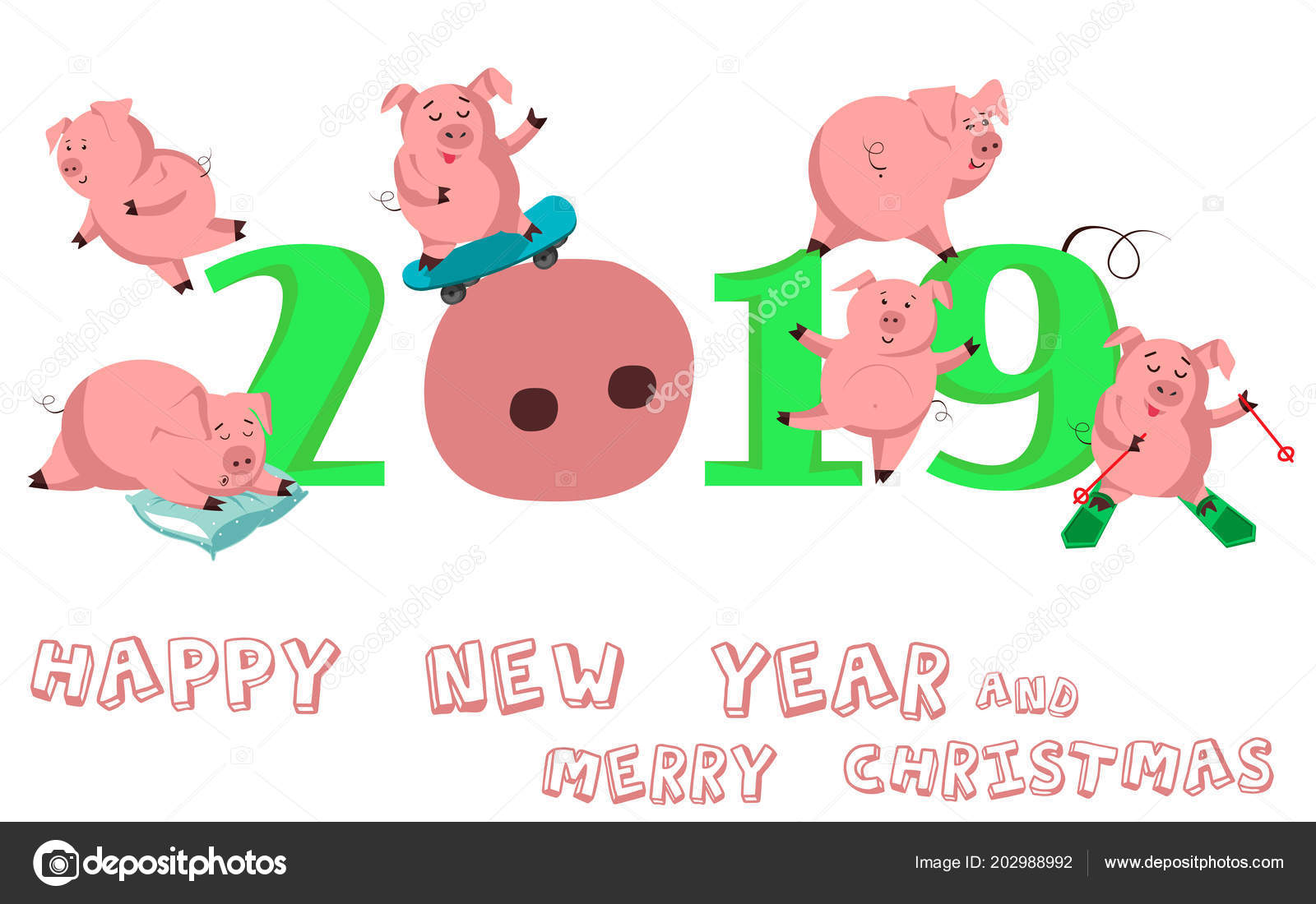 Happy New Year Set Cute Funny Pig Chinese Symbol 2019