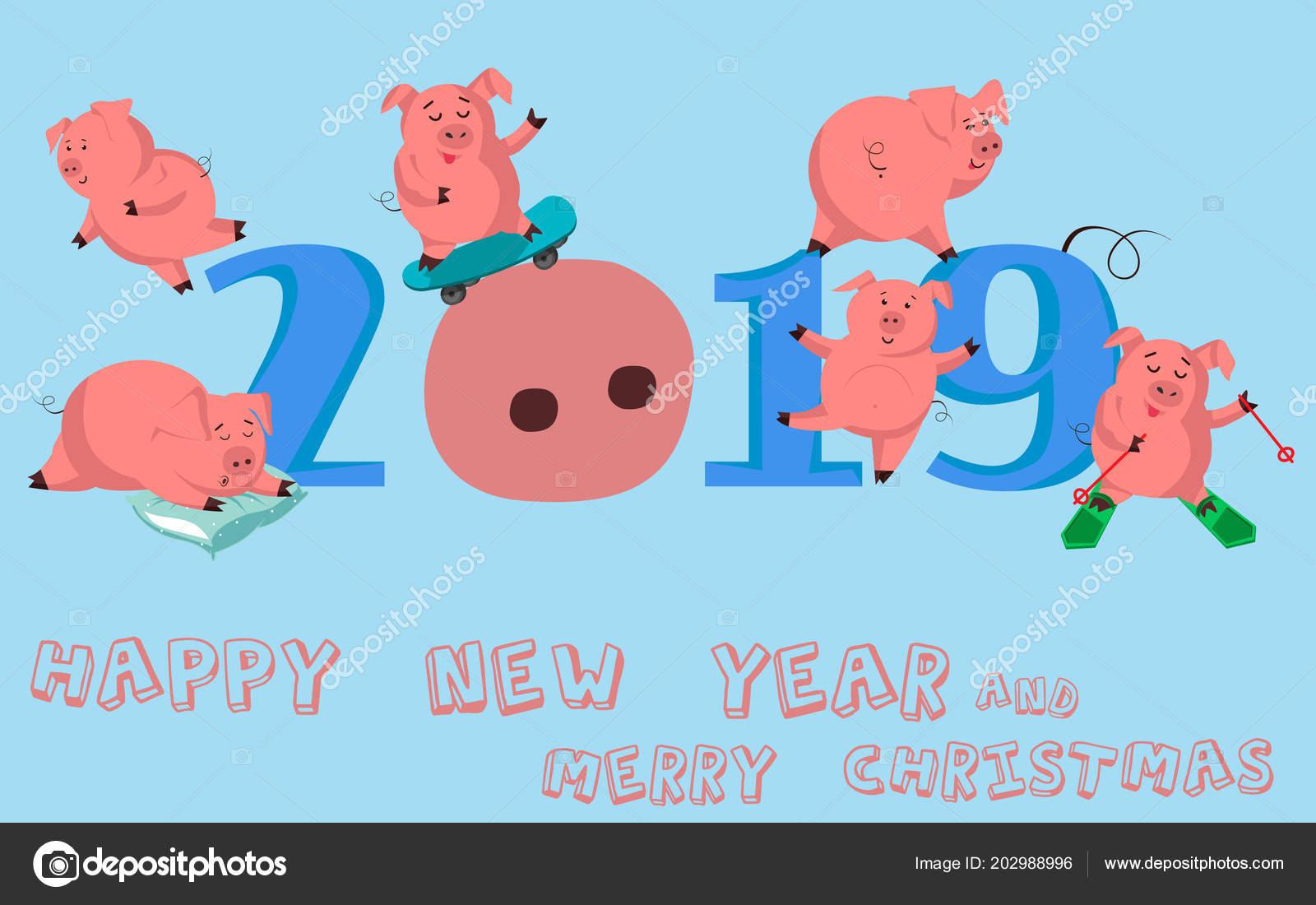 Frohes Neues Jahr Satz Von Niedlichen Lustiges Schwein Chinesisches ...