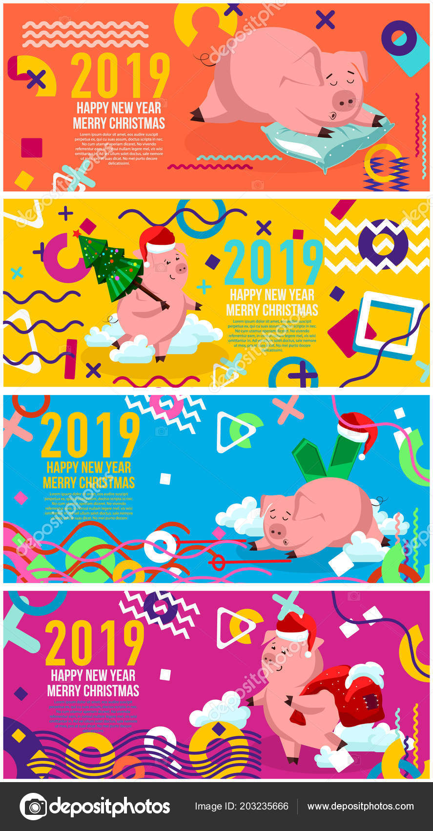 creative design of the new years card in 2019 on a modern backgroundbackground of geometric elements and color numbers vector by executioner 4