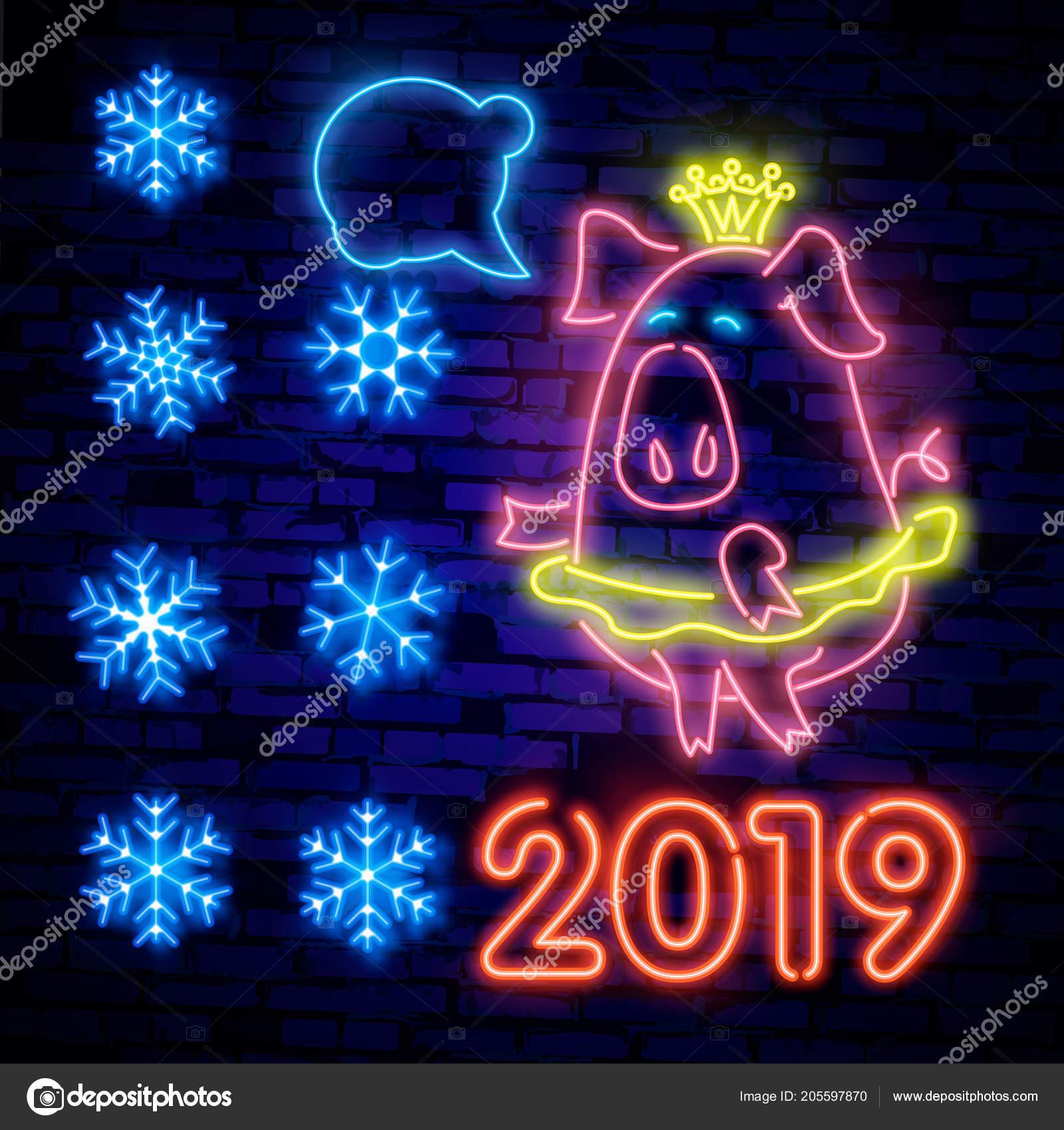 Schriftzug Frohe Weihnachten Beleuchtet.2019 Happy New Year Neon Lights Frohe Weihnachten Und
