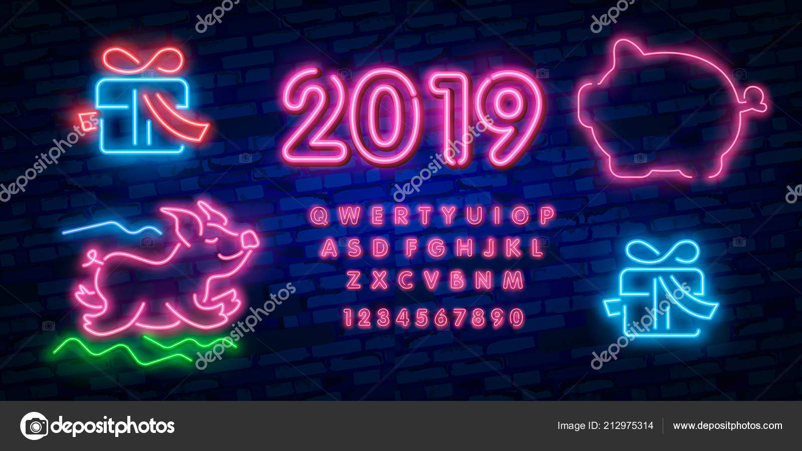 happy chinese new year 2019 design template vector chinese new year of pig greeting card light banner neon style vector illustration vector by