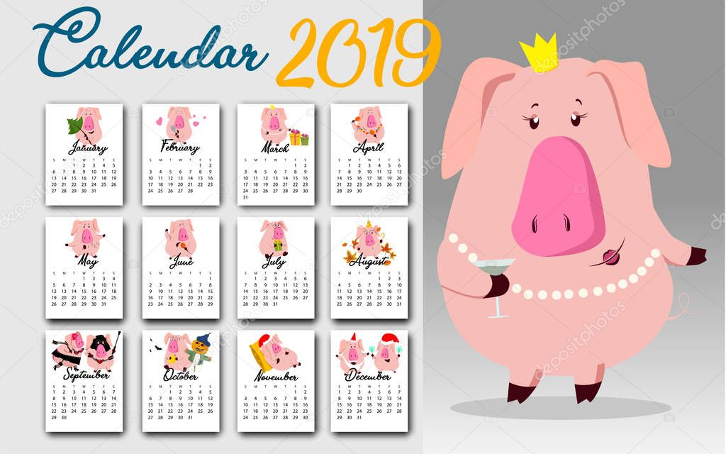 Monthly creative calendar 2019 with cute pig. Concept, vector vertical editable template. Symbol of the year in the Chinese calendar. Cartoon. Isolated. Vector illustration.