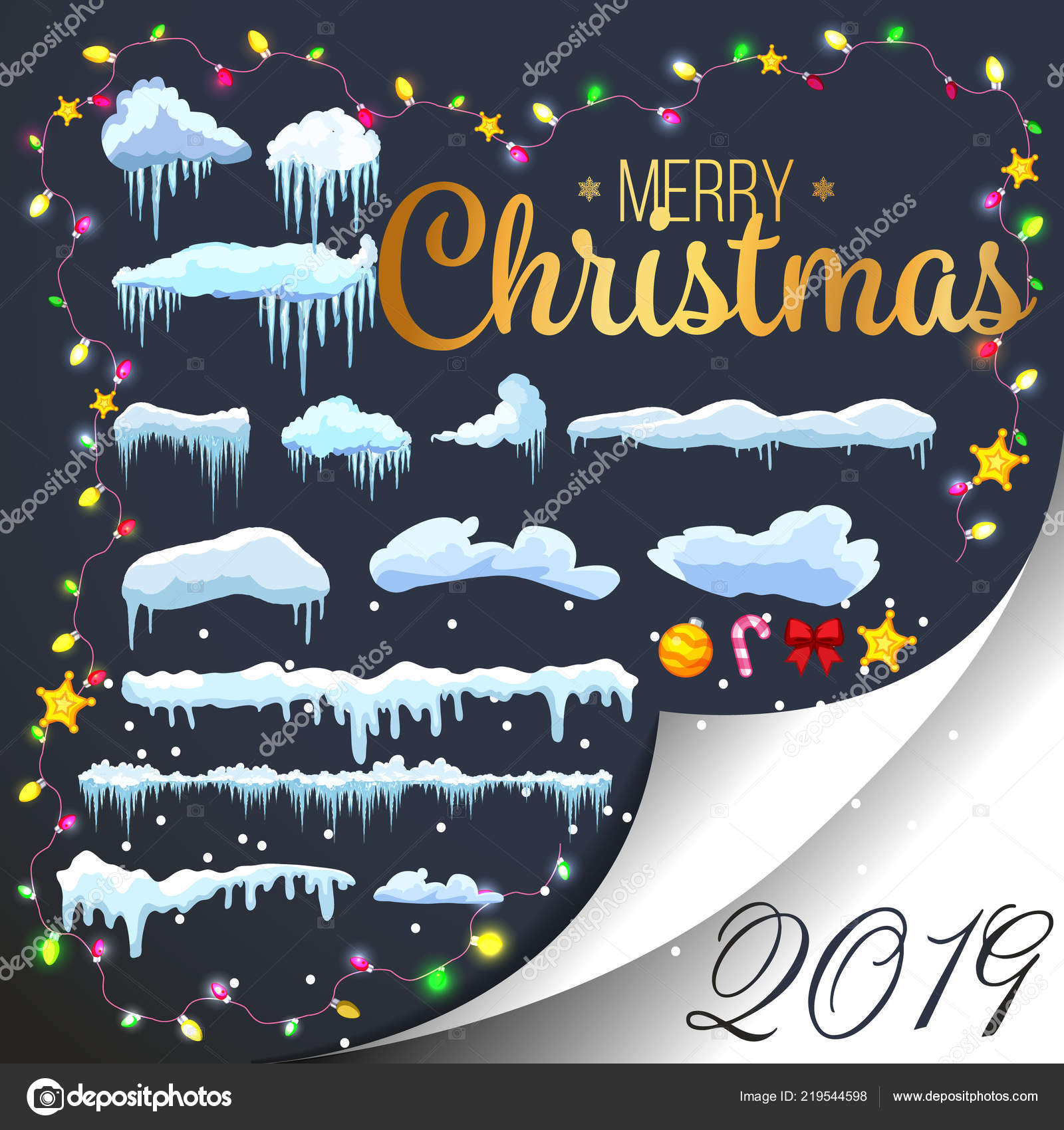 snow ice icicle set winter design white blue snow template snowy