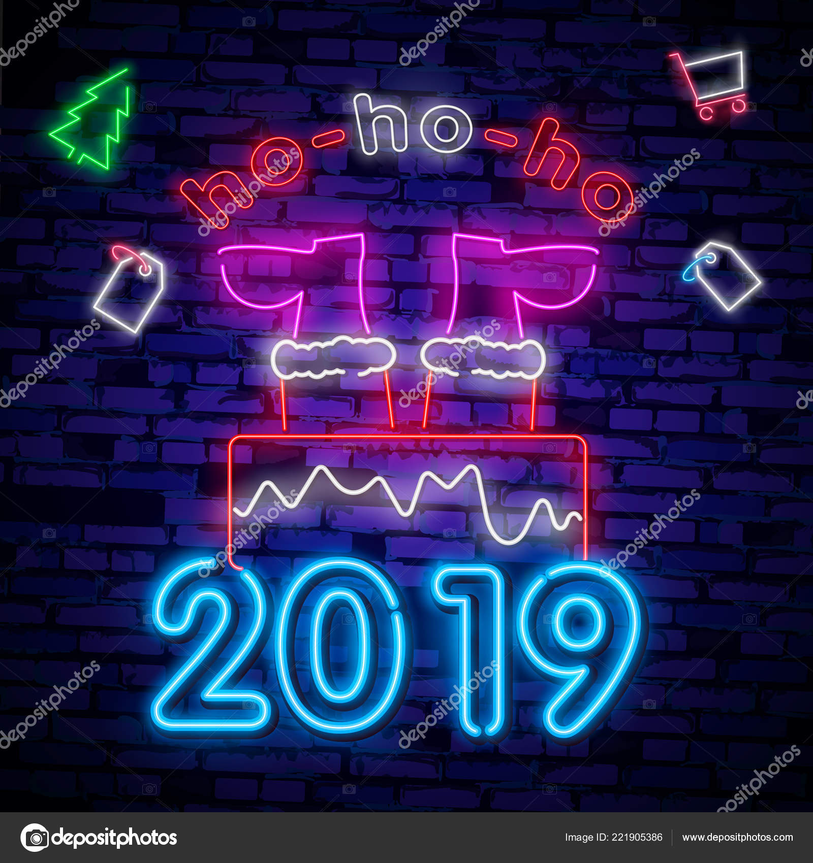 santa claus sign neon sign merry christmas new year banner stock vector