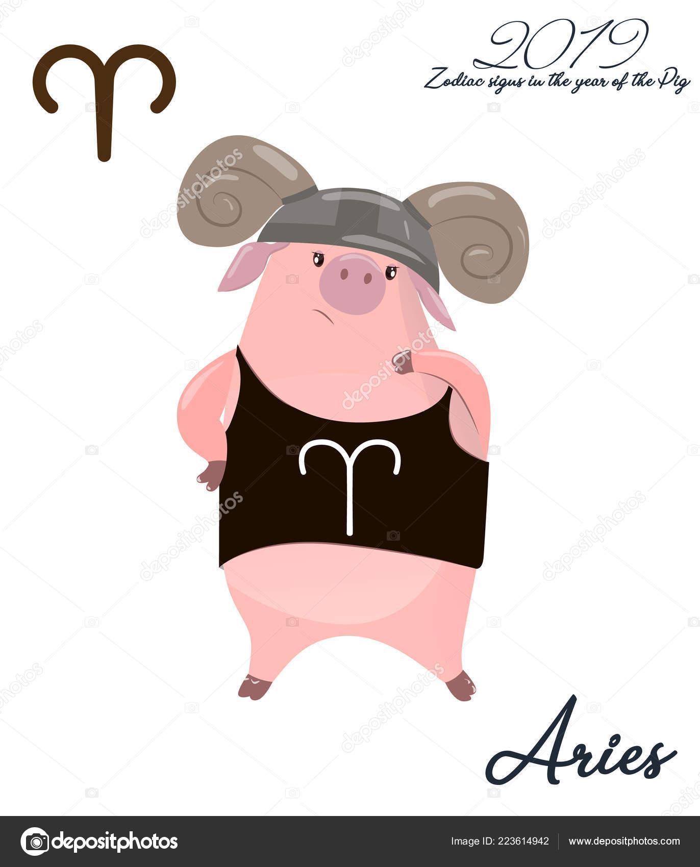 Pig Calendar April 2019 Cute Month Calendar Horoscope Sign Aries