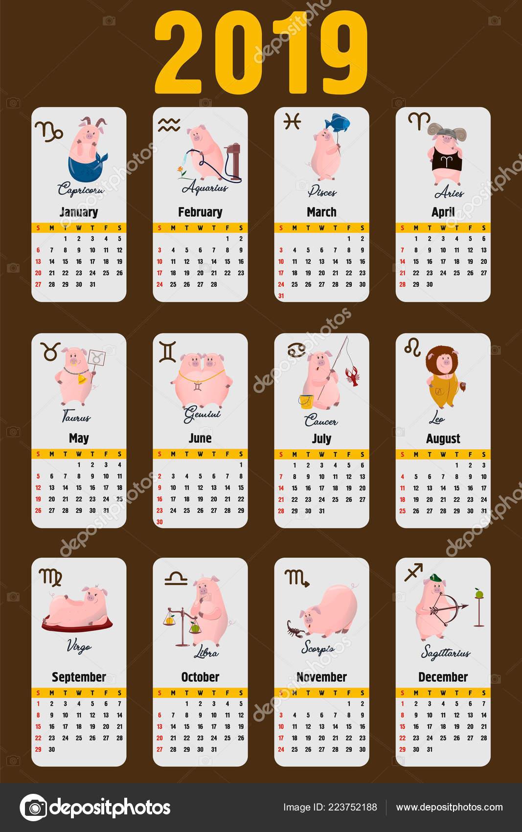 Calendario Oroscopo.Calendario Maiale 2019 Calendario Mese Carina Con Segni