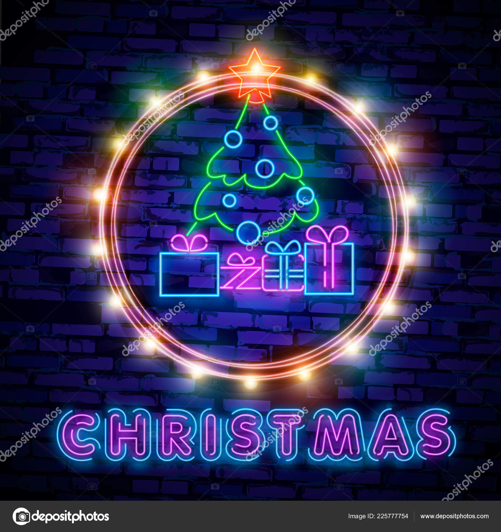 merry christmas and 2019 happy new year neon sign with snowflakes hanging christmas ball