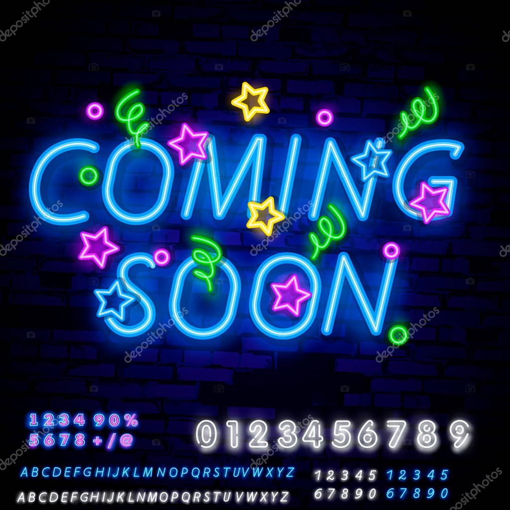 Coming Soon Neon Sign Vector With Brick Wall Background Coming Soon Badge In Neon Style Design Element Light Banner Announcement Neon Signboard Night Neon Advensing Premium Vector In Adobe Illustrator