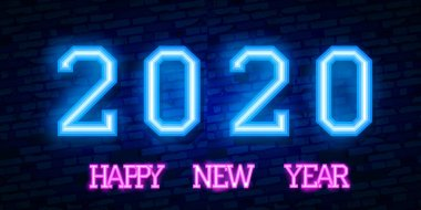 2020 New Year Concept with Colorful Neon Lights. Retro Design Elements for Presentations, Flyers, Leaflets, Posters or Postcards. Vector Illustration