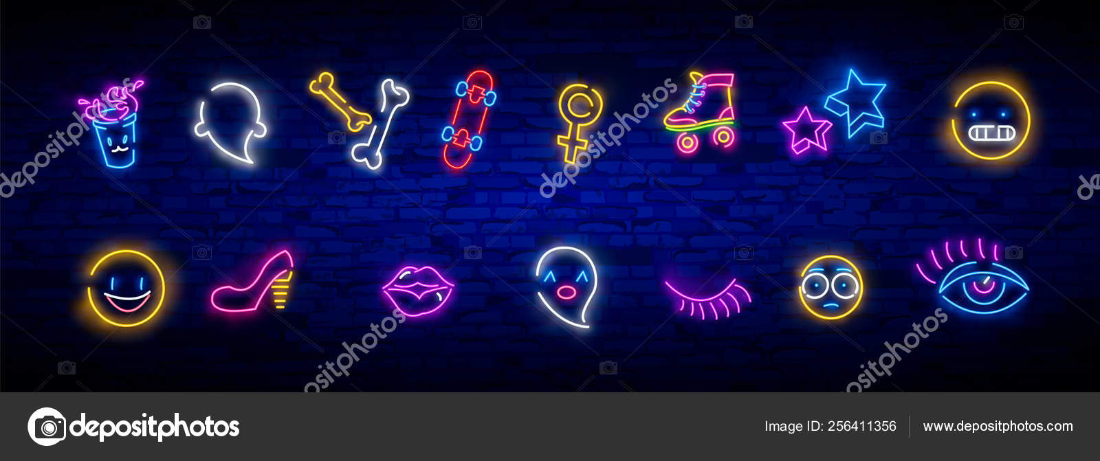 Neon icons set in 80s-90s pop art comic style  Patch badges and pins