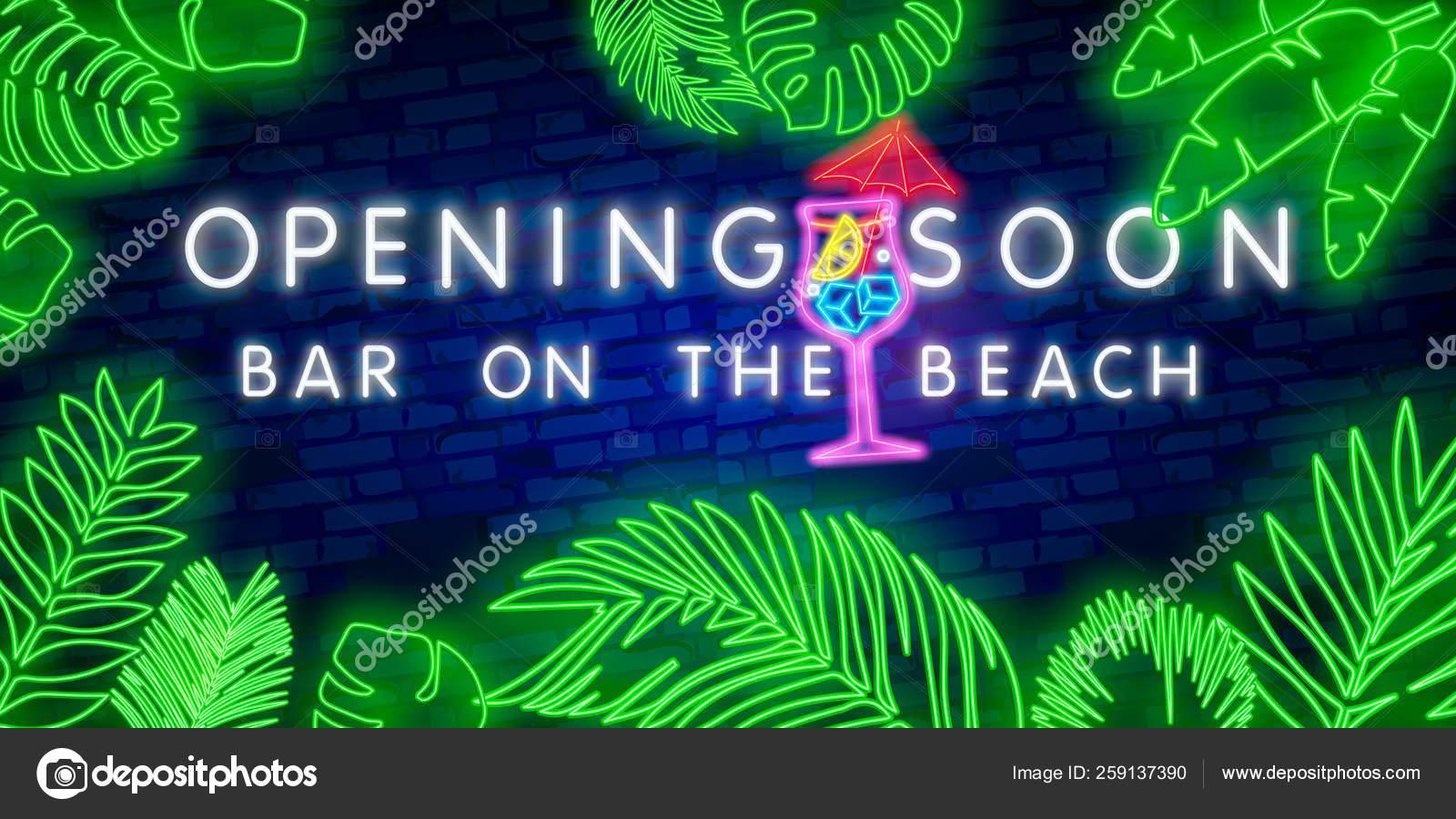 Beach Bar Letrero De Neón Cartel Brillante Pancarta De Luz