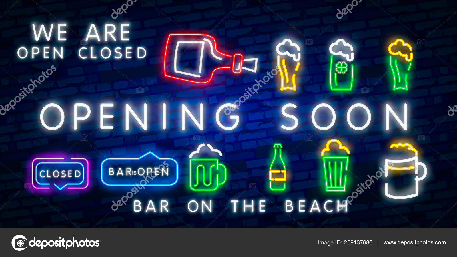 Opening Soon Beach Bar Neon Sign Bright Signboard Light Banner Beach Pub Logo Emblem And Label Neon Text Editcoming Soon Neon Glowing Banner On Black Brick Wall Concept Realistic Vector Illustrat
