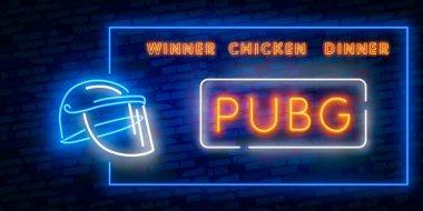 Game Battle Grounds neon sign, bright signboard, light banner, PUBG. Vector illustration logo and text Winner winner chicken dinner. winning pubg text