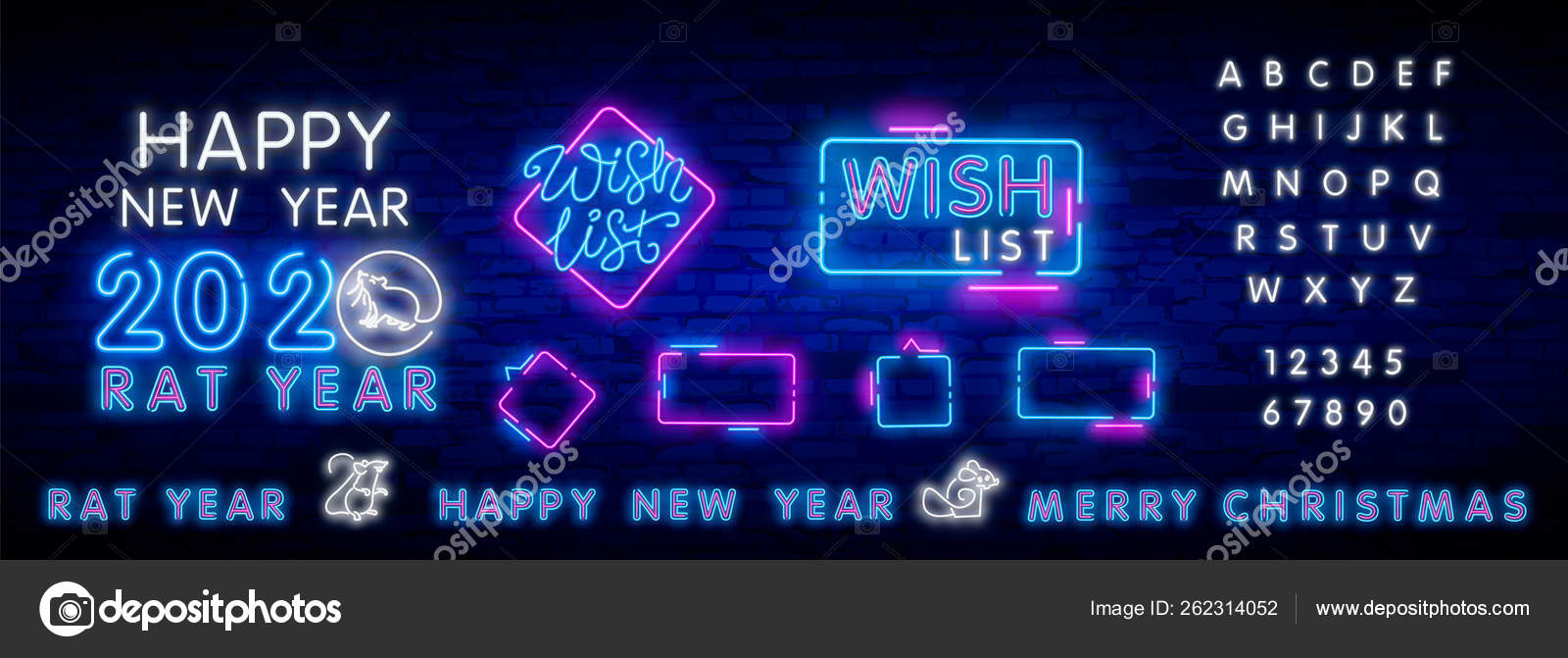 Christmas Wish List 2020.2020 Christmas Wish List Template Neon Elements Neon Wish