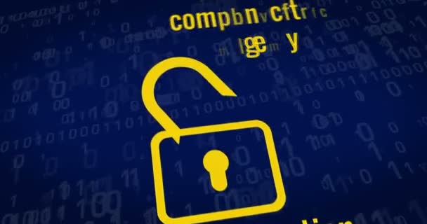 General Data Protection Regulation title, padlocks, paragraph symbol and cyber safety keywords on blue background. 3D rendering concept animation.
