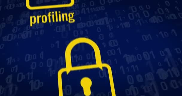GDPR - General Data Protection Regulation, padlocks, paragraph symbol and cyber security buzzwords on blue digital background. 3D rendering concept animation.