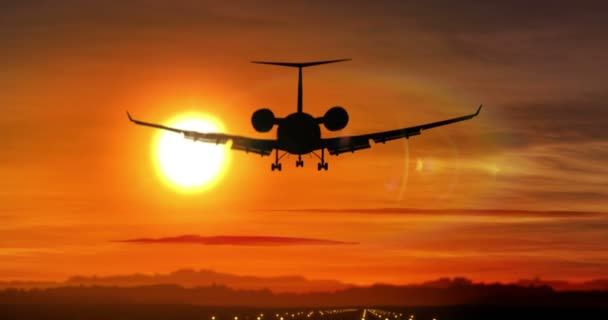 Airplane silhouette landing at the airport during sunset. Sun, shape of private jet plane and flashing runway lights.