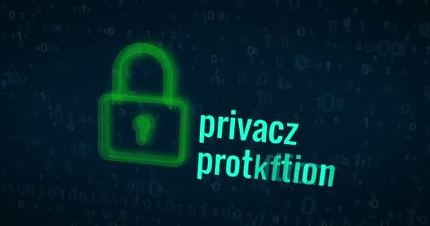 Kybernetické bezpečnosti a počítače ochrany buzzwords na digitální pozadí abstraktní loopable animaci. Záběry bezešvé koncept bezpečnosti v kybernetickém prostoru a soukromí na internetu