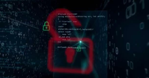 Narušení bezpečnosti Cyber digitálního pozadí konceptu. Otevírání visacích zámků pro přístup k datům, počítače hacking v abstraktní loopable animace