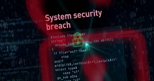Narušení bezpečnosti Cyber na digitální pozadí koncepce animace. Otevírání visacích zámků pro přístup k datům, cyber zločin buzzwords a computer bezpečnost v abstraktní loopable záběry