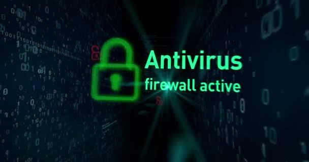 Cyber biztonság megszegés a digitális háttér concept animáció. Megnyitása lakattal hozzáférését adatok, a cyber-bűnözés buzzwords és a számítógép biztonságát, az absztrakt loopable felvétel.