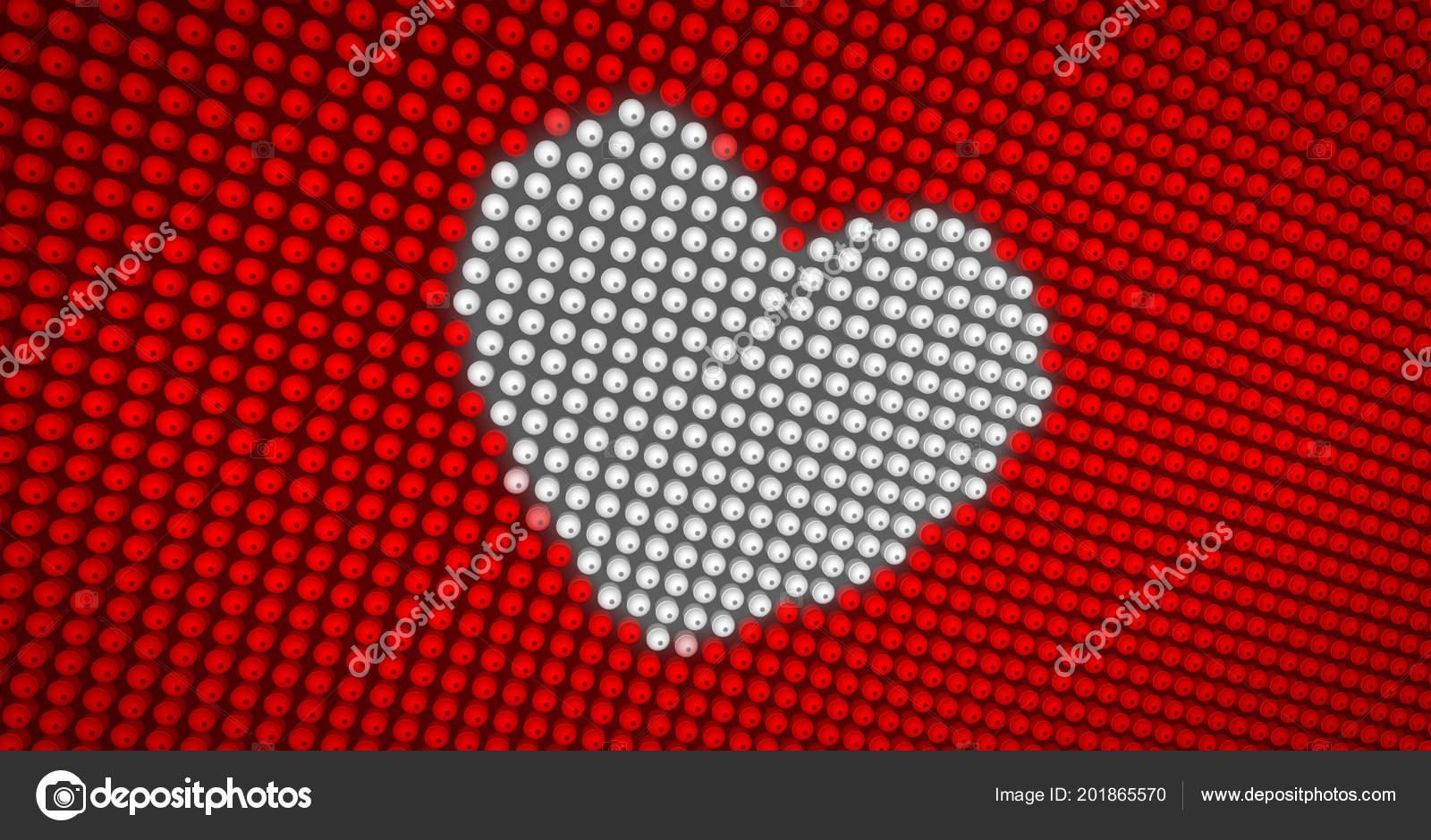 White Heart Symbol Beating Large Led Display Big Pixel Heart Stock