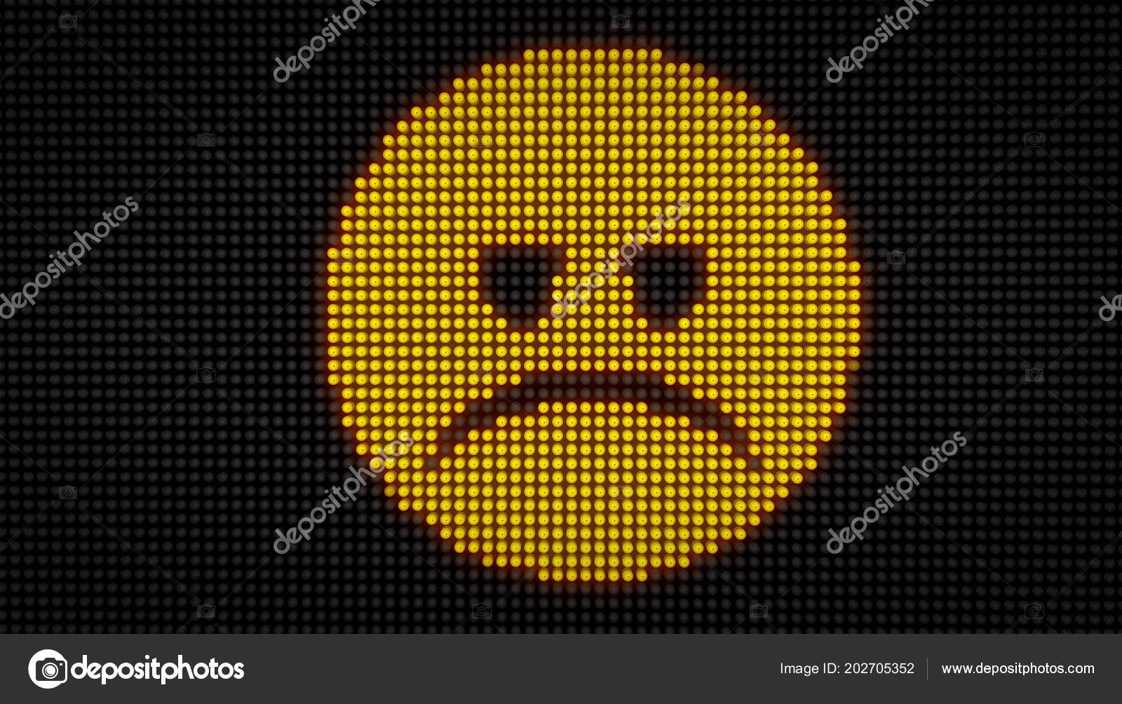 Emoticon Sad Face Big Led Display Large Pixels Bright Light Stock