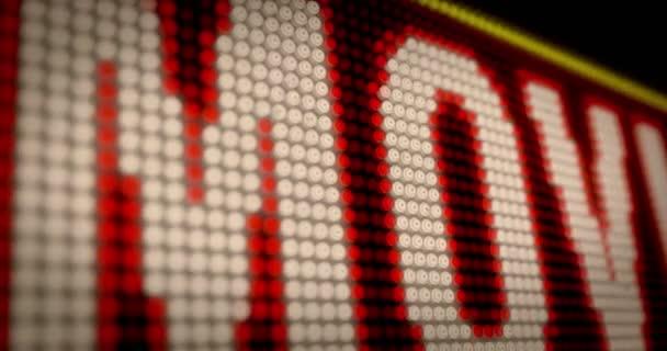 Venkovní filmový večer retro Úvod světelná písmena na velká neonová displej s velkými pixely. Animace ze světlé světlý text na displeji žárovky. Zábavní akce reklamní banner.