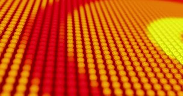 Sárga izzók fali háttér-világító formák a nagy neon képernyő nagy képpont. Animáció a ragyogó fény, LED kijelző. 3D-leképezés.