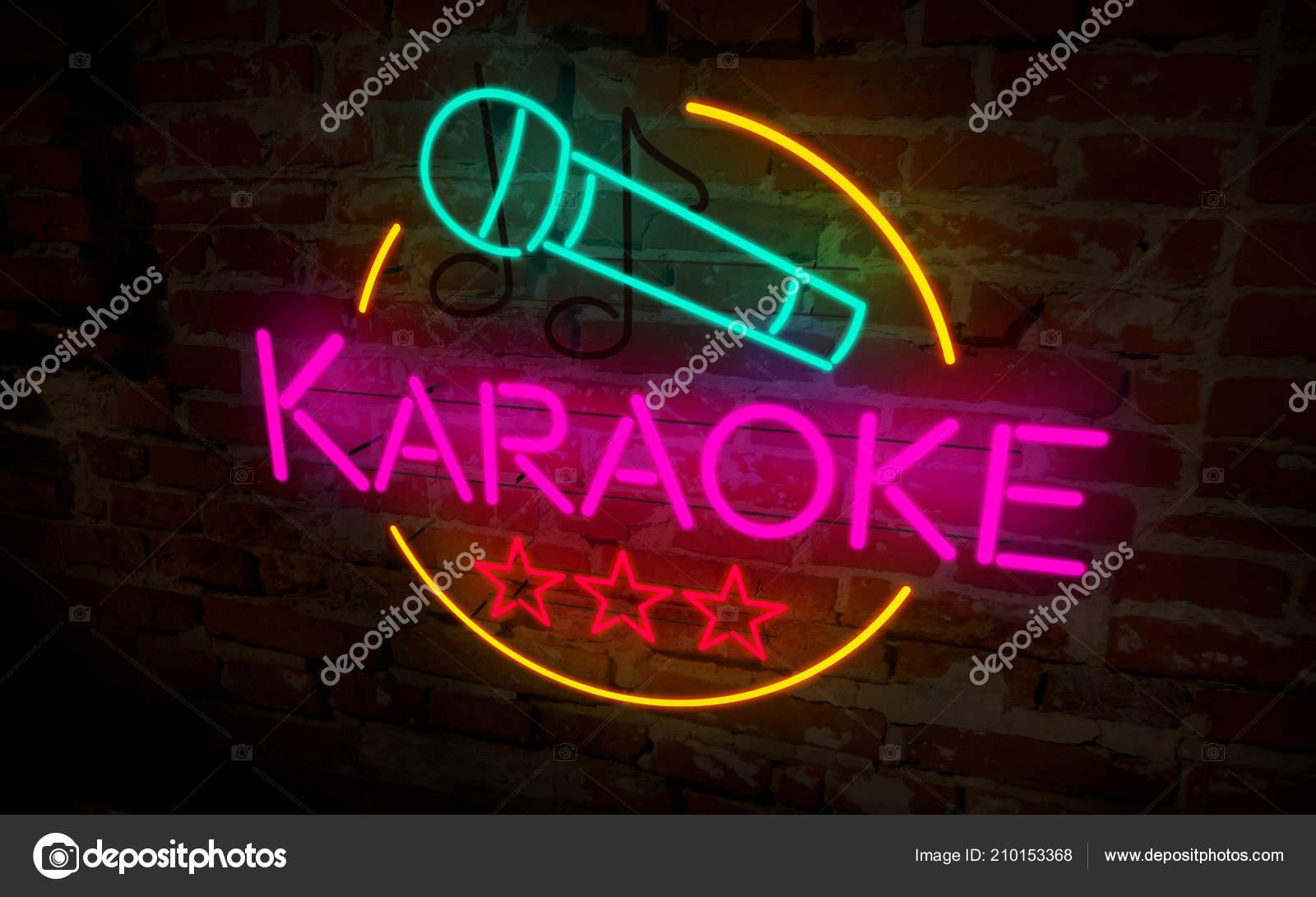 Bekannt Karaoke Club Neonlampe Auf Ziegel Wand Retro Leichte Schriftzug RF73