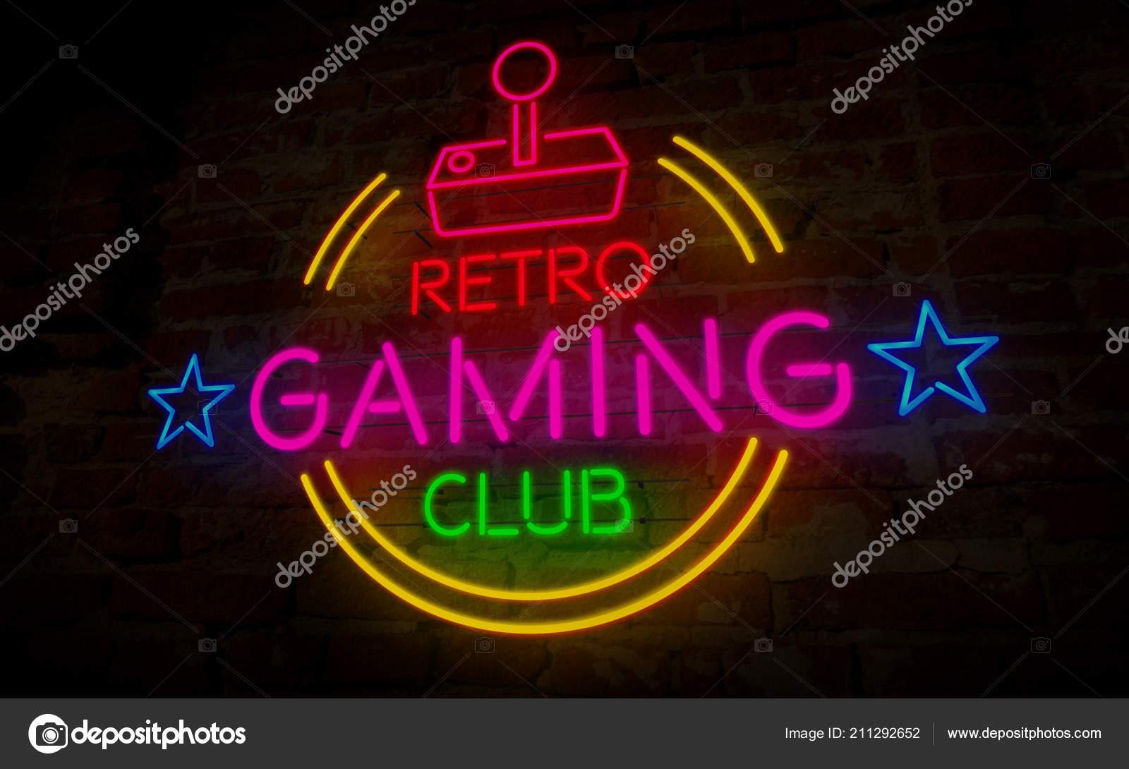 Top Gaming Retro Club Neon Illustration Symbol Und Schriftzug Auf Der AV07