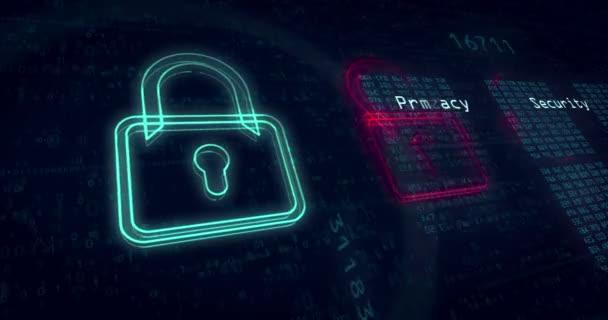 Loopable animace kybernetické ochrany, počítačové bezpečnosti a bezpečnosti v Internetu. Soukromí v kyberprostoru abstraktní pojem pozadí.