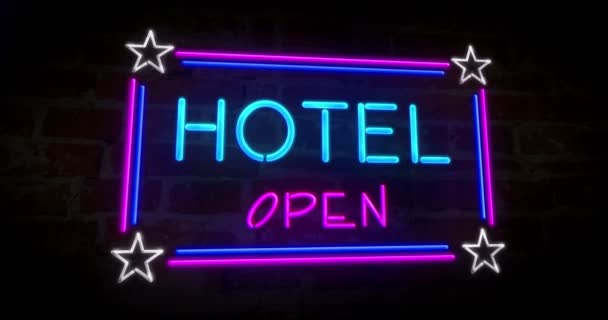 Hotel neon on brick wall  3D animation of retro style lighting lettering