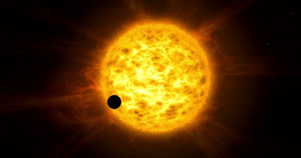 Planet transit on sun. Exoplanet eclipse on star with big plasma clouds in background.