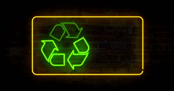 Recycling symbol in neon light stylizing animation  Abstract concept with  ecology symbol and slogan recycle reuse reduce