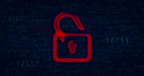Kybernetický útok s červeným visacím zámkem symbol silueta a závada efektem. Buzzwords bezpečnostní kód a počítač.